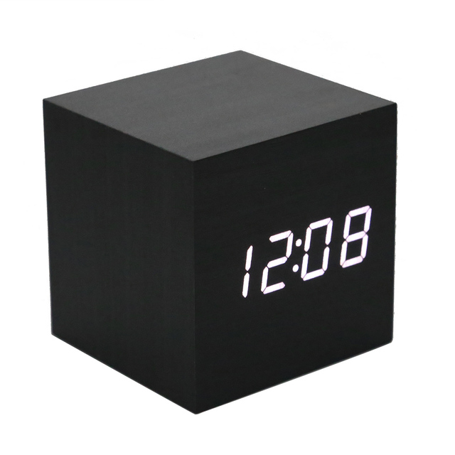 LED Display Alarm Clock Cube Wood Multicolor Sounds Control Square Desk Table Digital Thermometer Timer Modern Date Display