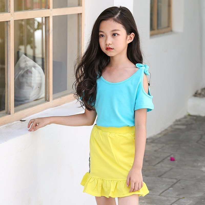 big girls skirts and top sets summer 2018 off shoulder blue t shirts tops with yellow ruffles skirt suits kids clothes girls set big teenage boys clothes set summer 2017 kids colorful striped t shirts