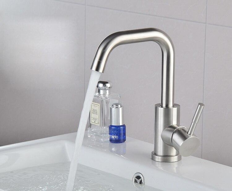 Смеситель 304 Нержавеющаясталь Turnable Носик Одной ручкой для Ванная комната туалет одно отверстие раковины матовый