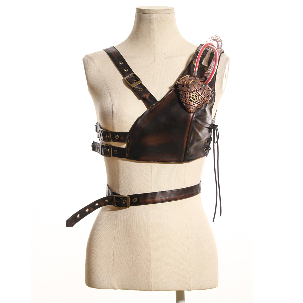 Steam Punk Cosplay Festive Party Party Shoulder Strap Leather Chest Strap with Armor