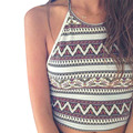 2017 Mujeres Del Verano Sexy Imprimir Tribal Strappy Bra Bustier Crop Boho Beach Bralette superior Patchwork Crochet Bikini Halter Sin Mangas Z1