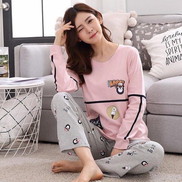 bd8d8da698 24 Style Young Girl Pajama Sets Long Sleeve Women Sleepwear 2018 Spring  Autumn Carton Cotton Pajamas