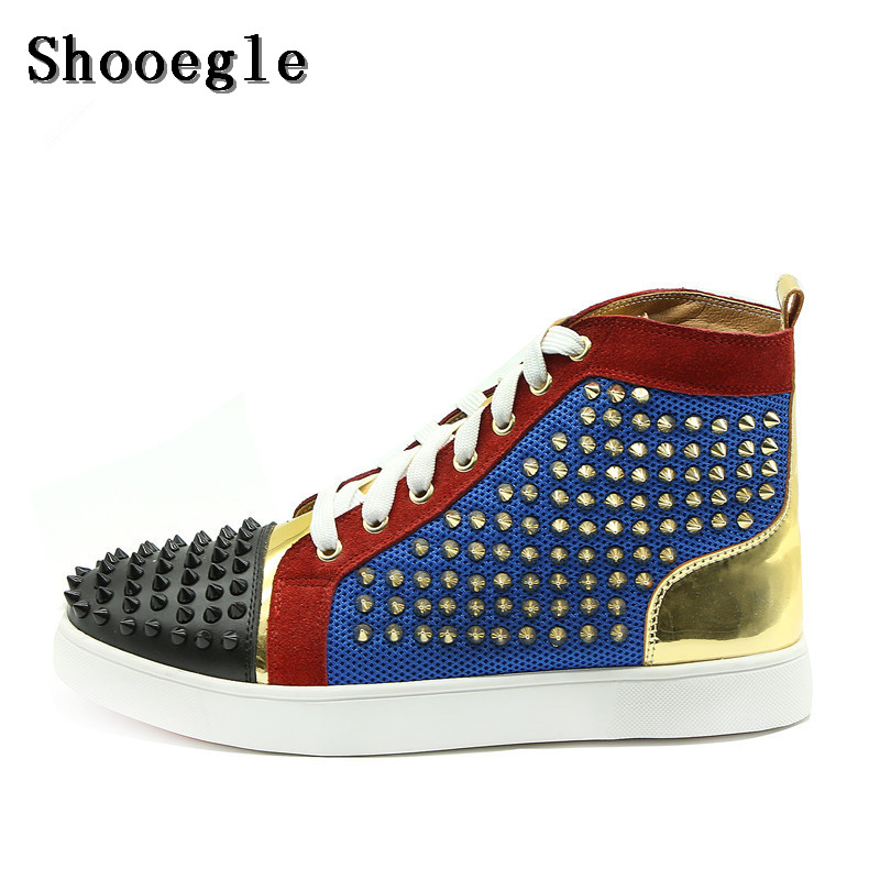 Здесь продается  SHOOEGLE Top Quality Patchwork Gold Rivets Men Shoes Fashion Spike Lace-up Shoes Men High-top Sneakers Shoes Man Size 38-47  Обувь