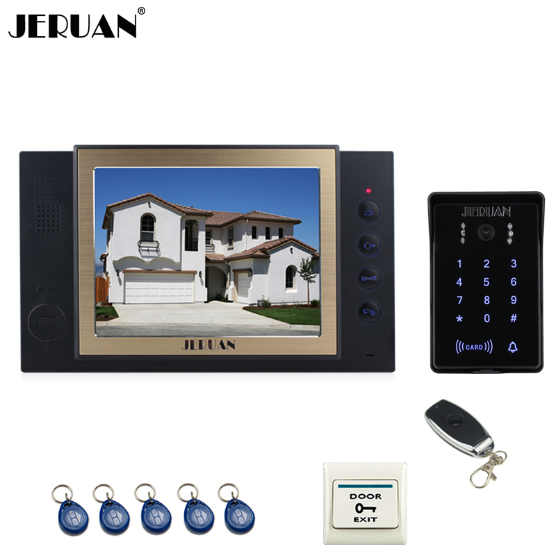 JERUAN 8 inch TFT video doorphone Record intercom system New RFID waterproof Touch Key password keypad Camera 8G SD Card