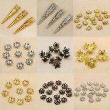 Несколько размеров приблизительно 6 ~ 100 шт. родий/золото/бронза металлические бусины шапки компоненты для изготовления ювелирных изделий DIY браслет ювелирных изделий