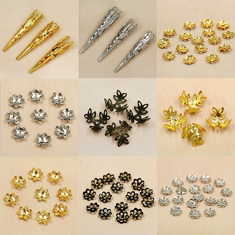 Multiple Size Approx 6~100pcs Rhodium/Gold/Bronze Metal Beads Caps For Jewelry Making Bracelet DIY Jewelry Findings Components