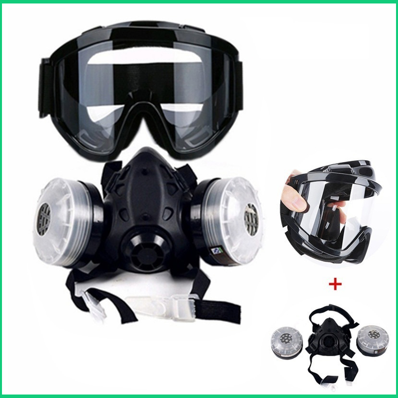 Half Face Gas Mask With Anti-fog Glasses N95 Chemical Dust Mask Filter Breathing Respirators For Painting Spray Welding