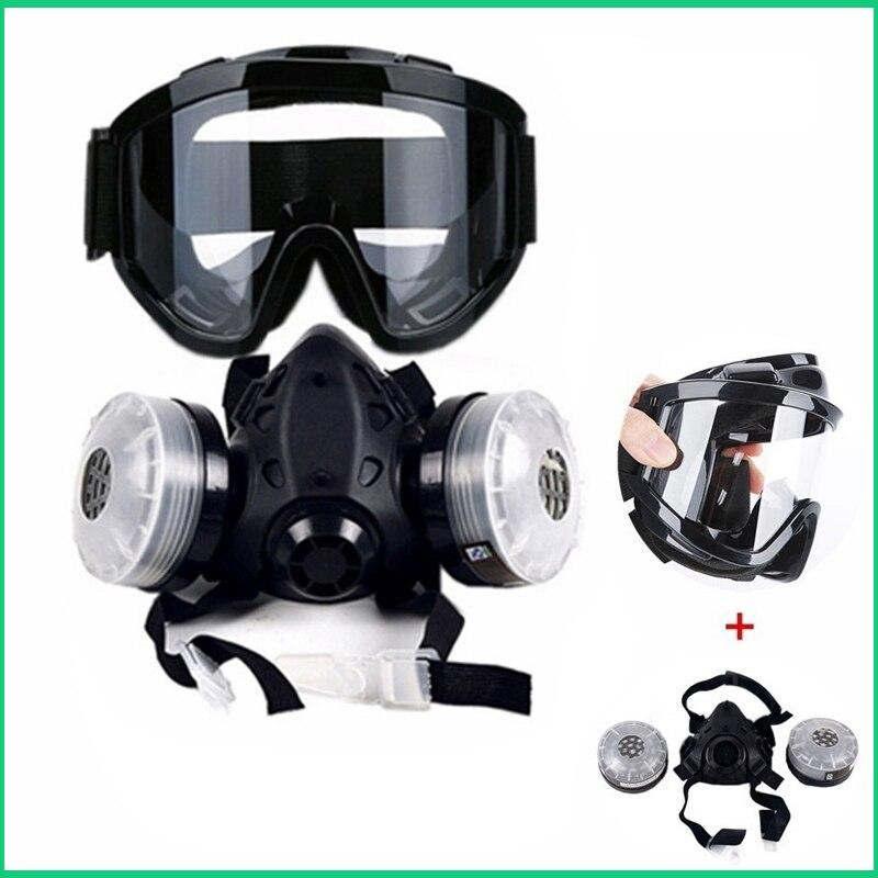 Güvenlik ve Koruma'ten Kimyasal Gaz Maskeleri'de Yarım yüz gaz maskesi  anti sis gözlük N95 kimyasal toz maskesi maskesi filtre solunum maskeleri boyama için sprey kaynak title=