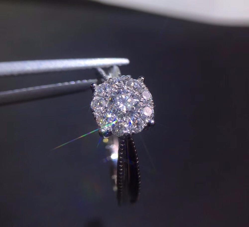 En vente bijoux fins véritable 18 K Facny 0.21ct diamant blanc fiançailles de mariage bagues pour femmes bague de diamants fins