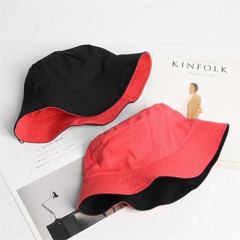 2019 solid Double sided Bucket Hat Fisherman Hat outdoor travel hat Sun Cap Hats for Men