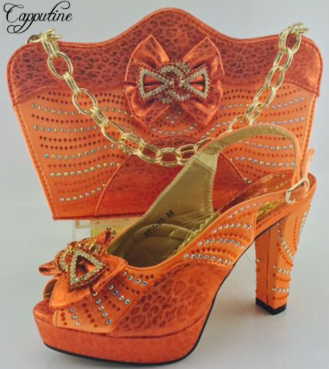 Capputine Orang Color Italian font b Shoes b font And Bag Set High Quality Italian Ladies