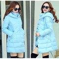 2016 chaqueta de invierno mujeres abajo parka mujeres bolsa larga de las mujeres chaqueta de invierno chaqueta ligera sólida Corea caliente cable largo algodón