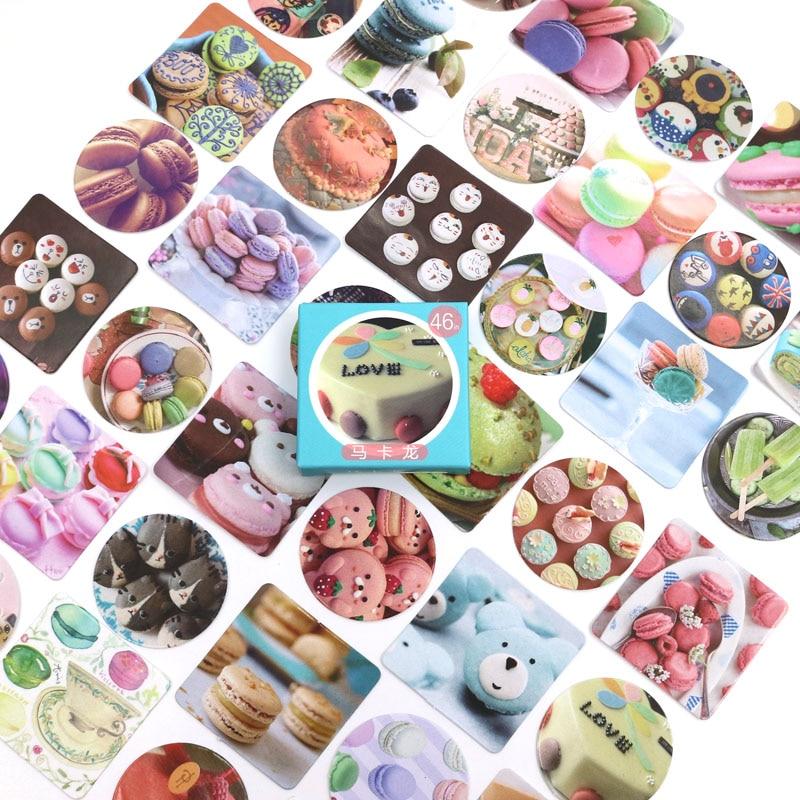 kawaii Macaron Mini Paper Decoration DIY Scrapbook Notebook Album Sticker Stationery Kawaii Girl Paper Sticker 46pcs/box