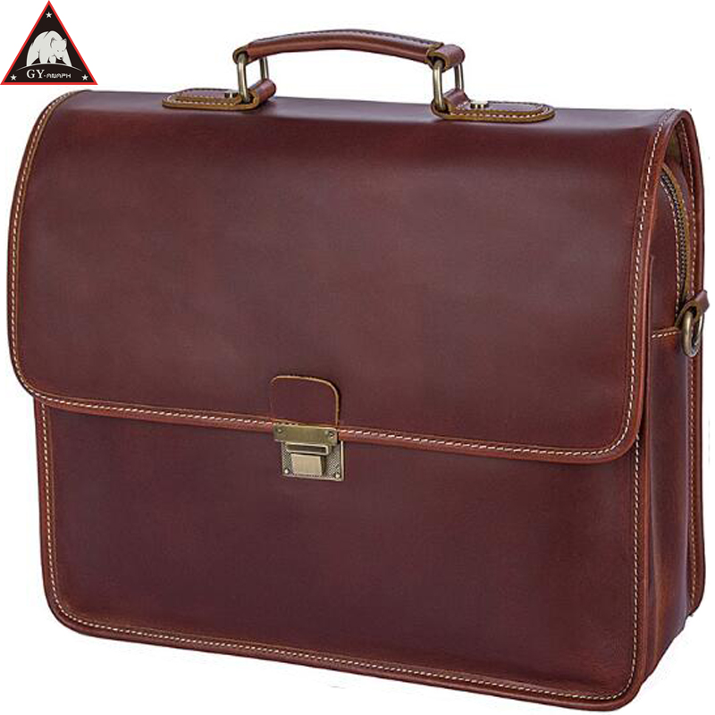 ANAPH Original Business Men's Full Grain Leather Briefcases Luxury Messenger Bags High Quality Totes 15 Inch Laptop Bag Wine redfox сумка full size business messenger 1000 черный