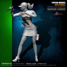 цена на Yufan Model 1/24 Soldier Model  75mm Double-knife Cheongsam Beauty Assassin Resin Soldier  Unmounted Yfww-1843