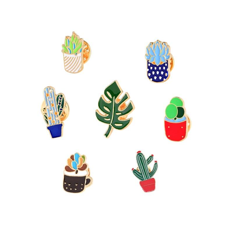 Hot Sale 7 Style Simple Cartoon Green Plant Cactus Leaf Shape Enamel Brooch Pins Collar Denim Jackets Button Pin Women Jewelry