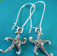 Hot Wholesale Fashion Jewelry 50 Pair Vintage Silver Cute Starfish Charm pendants Dangle Earrings For Womens DIY Shipping Z159 hot fashion jewelry 50 pair vintage ancient silver cute lobster charm fashion pendants drape earrings diy free shipping q070