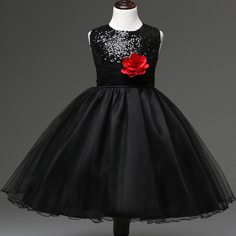 2016 Summer Luxury Girls Dresses Pure Color sleeveless Lace Sequins  Princess Dress Children s Kids Baby Dress Tutu Girls Clothes-in Dresses  from Mother ... 5e82818e82ab