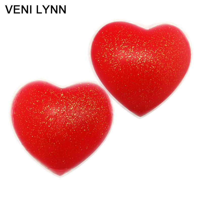 VENI LYNN Reusable Red Silicone Stickers Tits Petals Nipple Cover Heart Shaped  Pads  Pasties With Flashy Powder