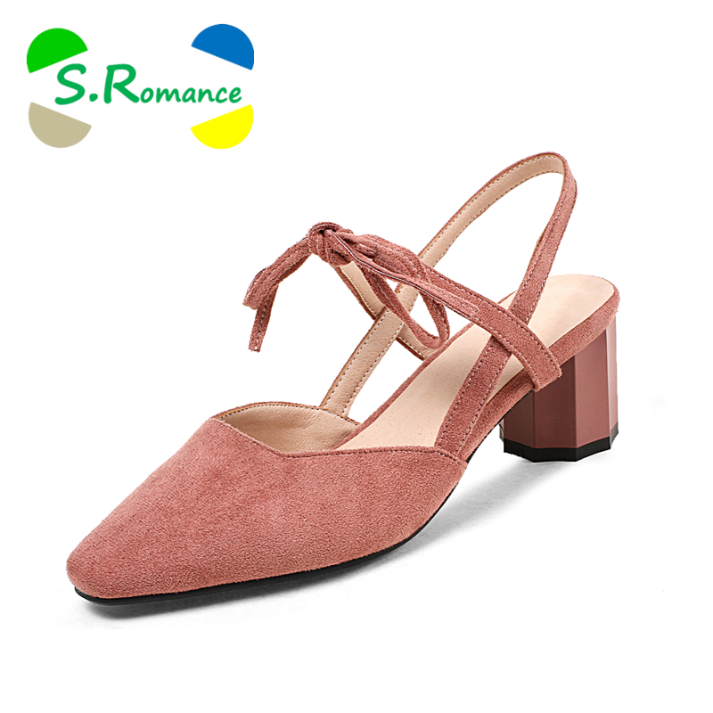 S.Romance Women Sandals Plus Size 34 43 High Square Heel Fashion Summer Office Slip On Lady Pumps Women Shoes Black Pink SS1036-in High Heels from Shoes    1