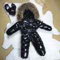 Snowsuit Baby Coat Big Natural Fur 3-36 Months White Duck Down Black White Winter Baby Clothes Bebek Mont Baby Winter Jumpsuit