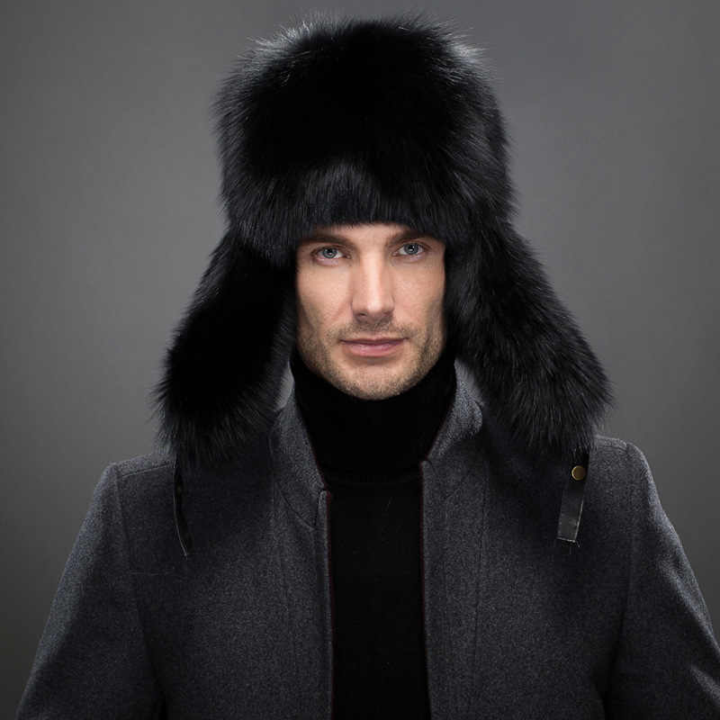 aca59a86ece ... Men s Raccoon Fur Bomber Hats Winter Fox Fur Earflap Hat Russian Aviator  Snow Skiing Warm Silver ...
