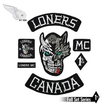 Full Set Loners Nomads Mc 1% Embroidered Motorcyle Biker Vest Jacket Large Back Patch 7 pcs Free Shipping