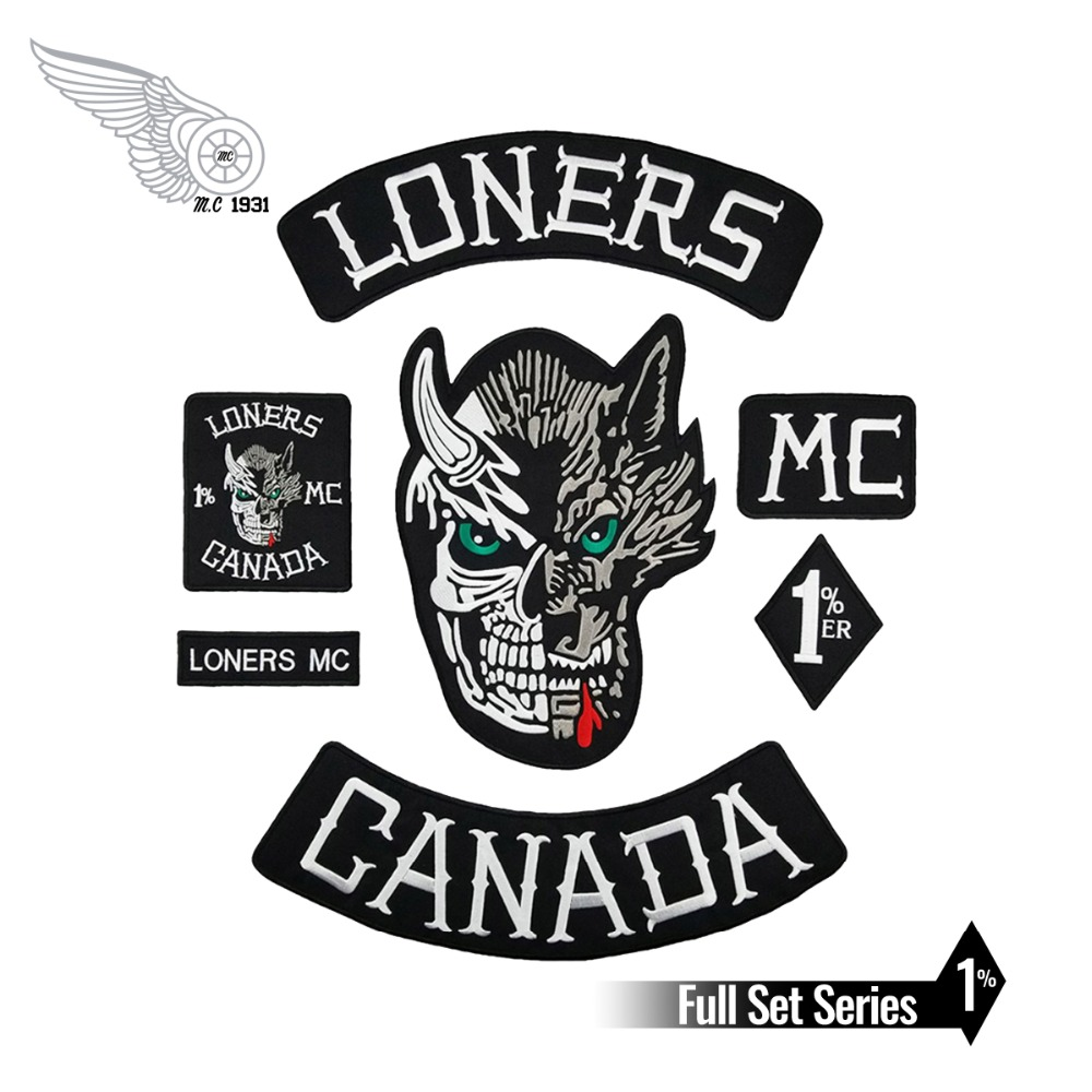 Full Set Loners Nomads <font><b>Mc</b></font> <font><b>1</b></font>% Embroidered Motorcyle Biker Vest Jacket Large Back <font><b>Patch</b></font> 7 pcs Set Free Shipping image