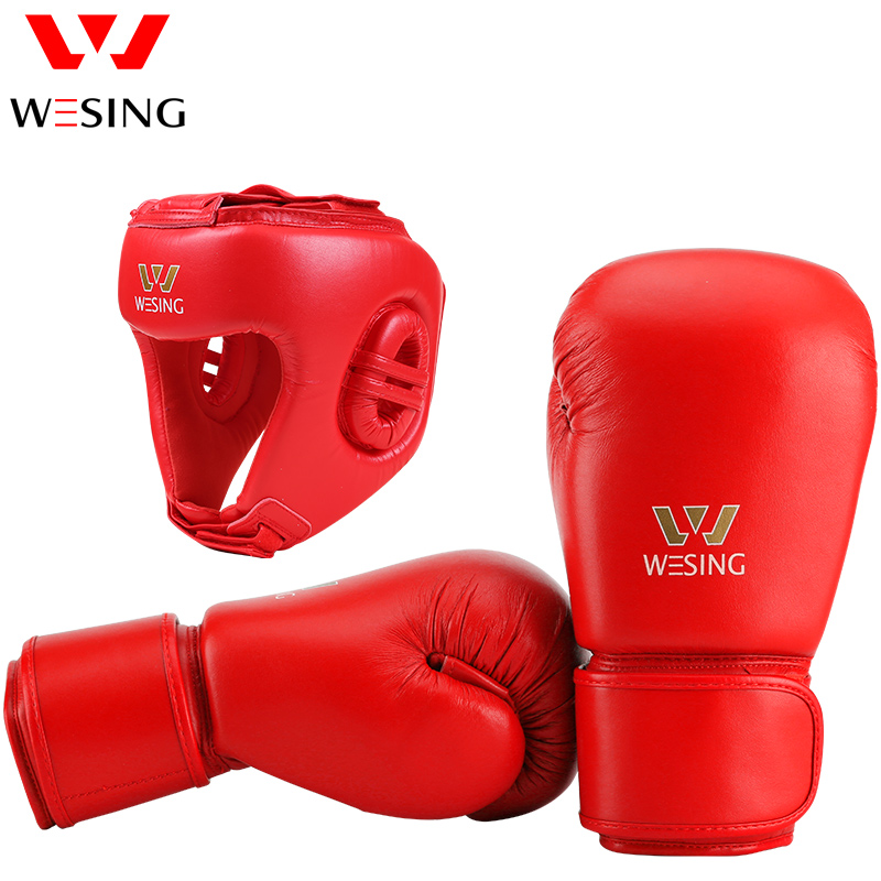 Wesing AIBA Approved Set Professional Boxing Gloves Boxing Head Guard Training Competition Helmet Boxing Gloves Protective Gears