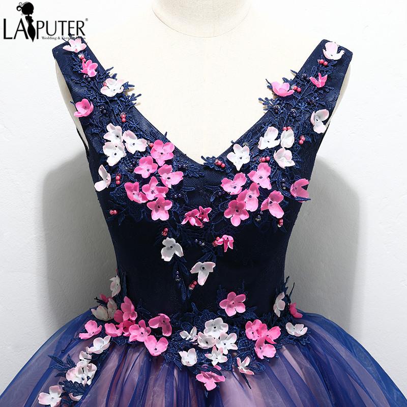 3fc1dd4e19 Fioletowy Sexy dekolt w serek sukienki koktajlowe powyżej kolana kwiaty  aplikacja Lace-up powrót suknia balowa Mini krótkie prawdziwe silk Floral  sukienka ...