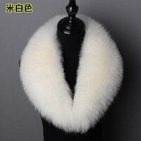 customerized real fox fur shawl collar unisex fur scarf black white blue one piece top quality genuine fox fur jacket collar