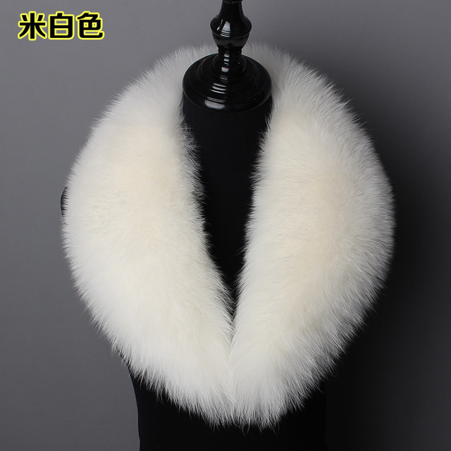 customerized real fox fur shawl collar unisex fur scarf black white blue one piece top quality genuine fox fur jacket collar