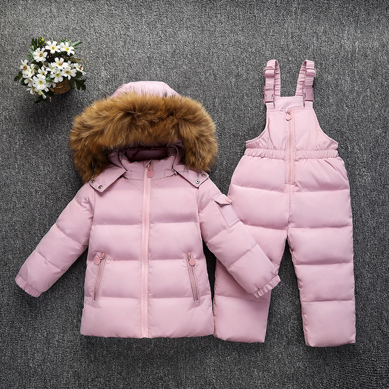 Children Winter Clothes Set Toddler Clothing Kids Down Jackets And Suspenders Pants 2 Pieces Suit For Baby Boys Girls 2 3 4 5 Y