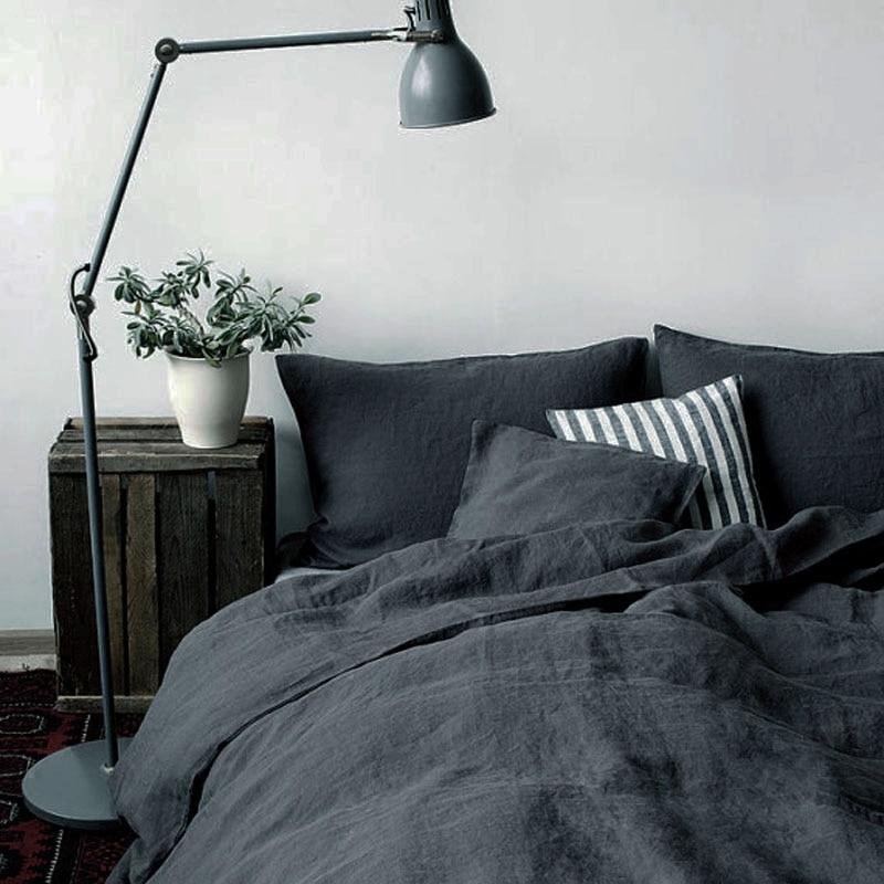 4 Piece/set Natural enzyme washing 100% Pure Linen bedding Sets Linen Duvet Cover Linen sheets