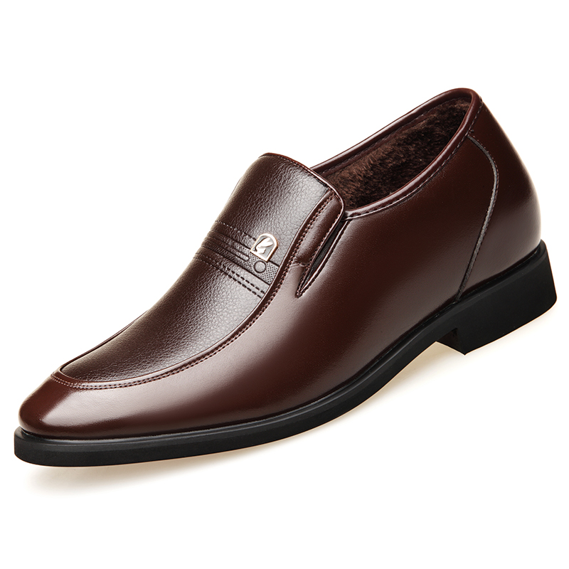 2018 Height Increasing Leather Business Men Slip on Dress Shoes Split Leather Wedding Shoes for Men Size 38-43 2018 height increasing leather business men slip on dress shoes split leather wedding shoes for men size 38 43