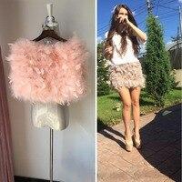 women winter skirt 2018 autum mini natural turkey fur ostrich feather girl skirt fashion lady white skirt four season suitable