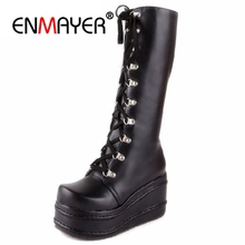 ENMAYER Motorcycle Boots Gothic Punk Shoes Cosplay Boot Knee High Heel Platform Sexy Lace up Winter Wedges Knee High Boots CR676 jialuowei women sexy fashion shoes lace up knee high thin high heel platform thigh high boots pointed stiletto zip leather boots
