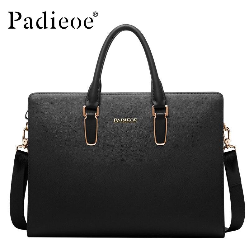 Padieoe Black Blue Laptop Briefcase Leather Business Bag Messenger Bag Men Leather Handbag Mens Briefcase Bags