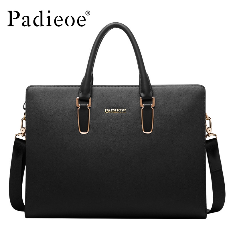 Padieoe Black Blue Laptop Briefcase Leather Business Bag Messenger Bag Men Leather Handbag Mens Briefcase Bags