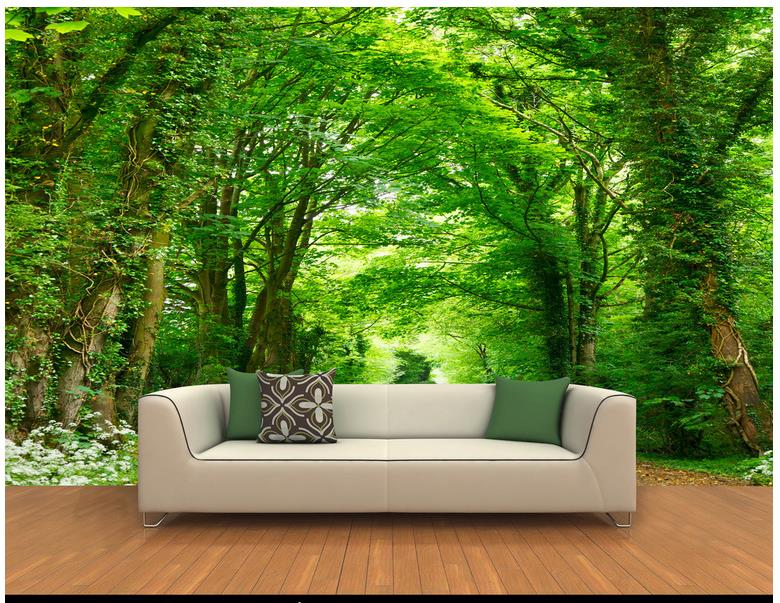 Пользовательские 3d фото обои для стен 3 d настенные фрески 3d росписи леса тропа стенды с обеих сторон уличных деревьев домашний декор
