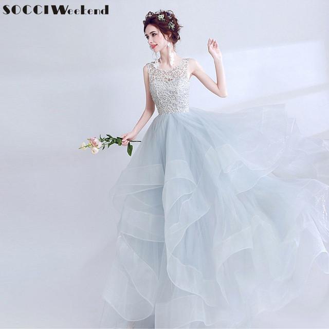 Elegant Women Evening Dress Grey Backless Formal Wedding Party Dresses Prom Gowns Birthday Reception Robe de