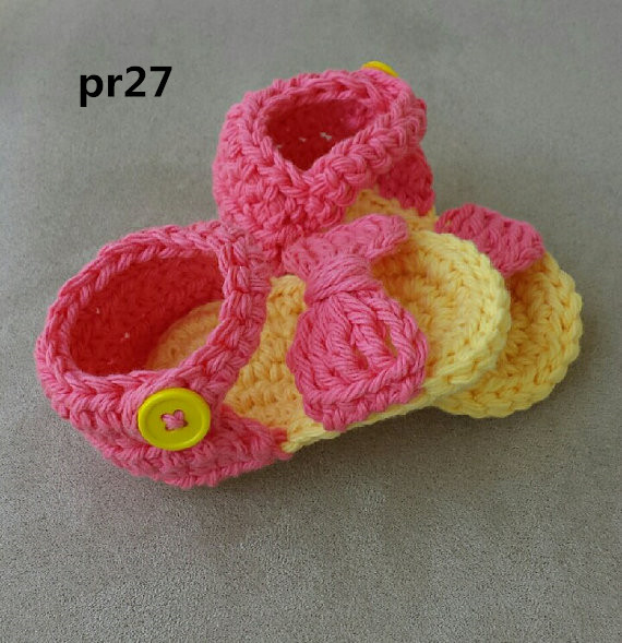 Baby Sandals, Crochet Baby handmake sandales,  Yellow Baby Shoes, Baby Bow Shoes