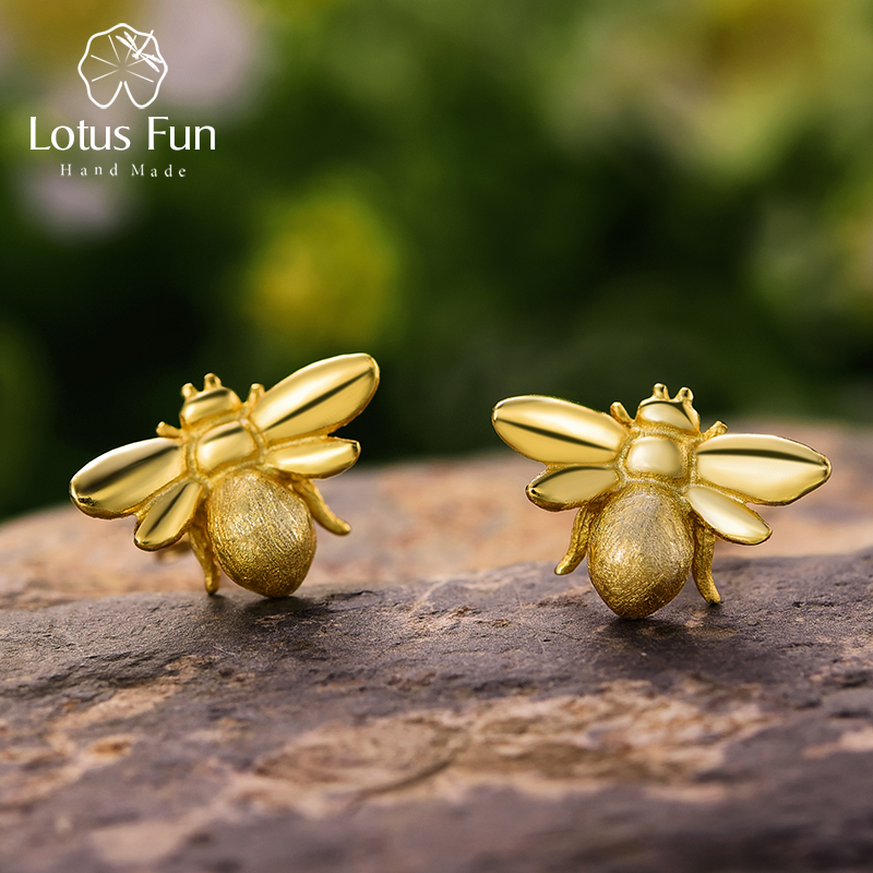 Lotus Fun Real 925 Sterling Silver Bee Earrings Natural Designer Fine Jewelry Cute 18K Gold Honeybee Stud Earrings For Women