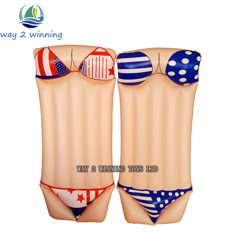 2018 New Sexy Bikini Inflatable Swimming Pool Float Adult Water Floating Island Swim Board Air Mattress Fun Toys Hot Sell