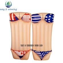 2016 New Sexy Bikini Inflatable Swimming Pool Float Adult Water Floating Island Swim Board Air Mattress Fun Toys Hot Sell Lamzac vertvie eva swim ring 62x22x2 5cm adult children board mattress adjustable back foam swimming learner belted waist float board