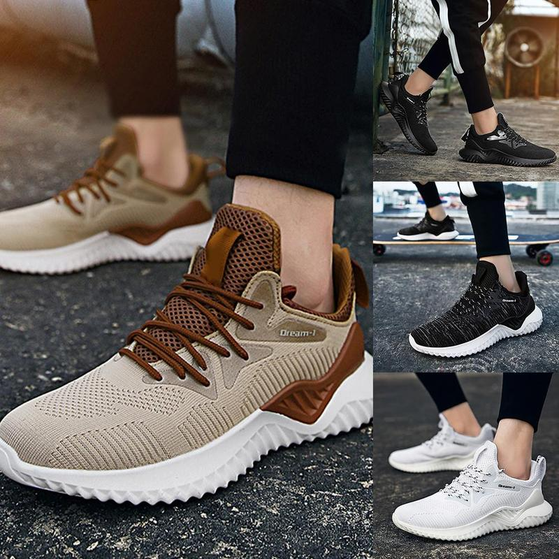 Men Shoes Walking-Sneakers Plus-Size Mesh Lightweight Comfortable New Lac-Up 46 4-Color