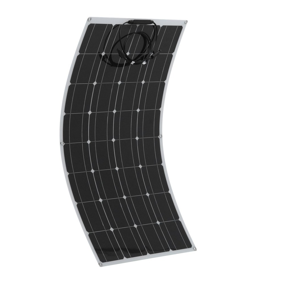 2pcs 100W Monocrystalline Flexible Solar Panel Outdoor Solar Charging Device Solar Power System For Off Grid RV Boat Car battery eco 6pcs 100w mono solar panel 600w 24v off grid battery power charge cmping rv