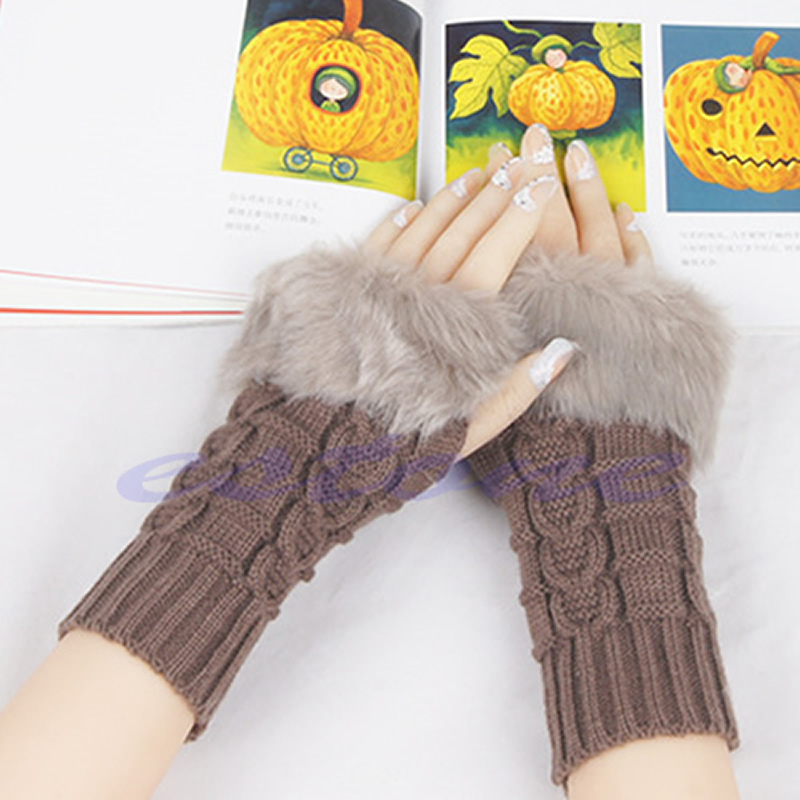 Lady Girl Warm Knitted Faux Fur Fingerless Winter Long Gloves Arm Warmer Mitten