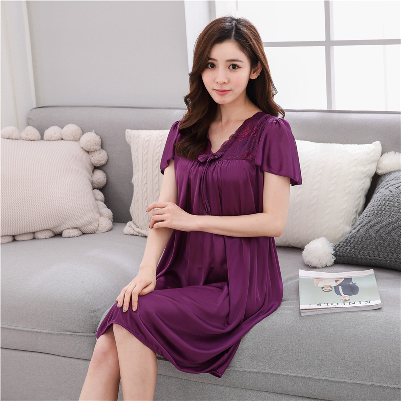 Summer Sexy V-neck Silk   Nightgown     Sleepshirts   Women Plus Size 3XL Sleepwear Lounge Casual Satin Silky Nightwear Female Dress