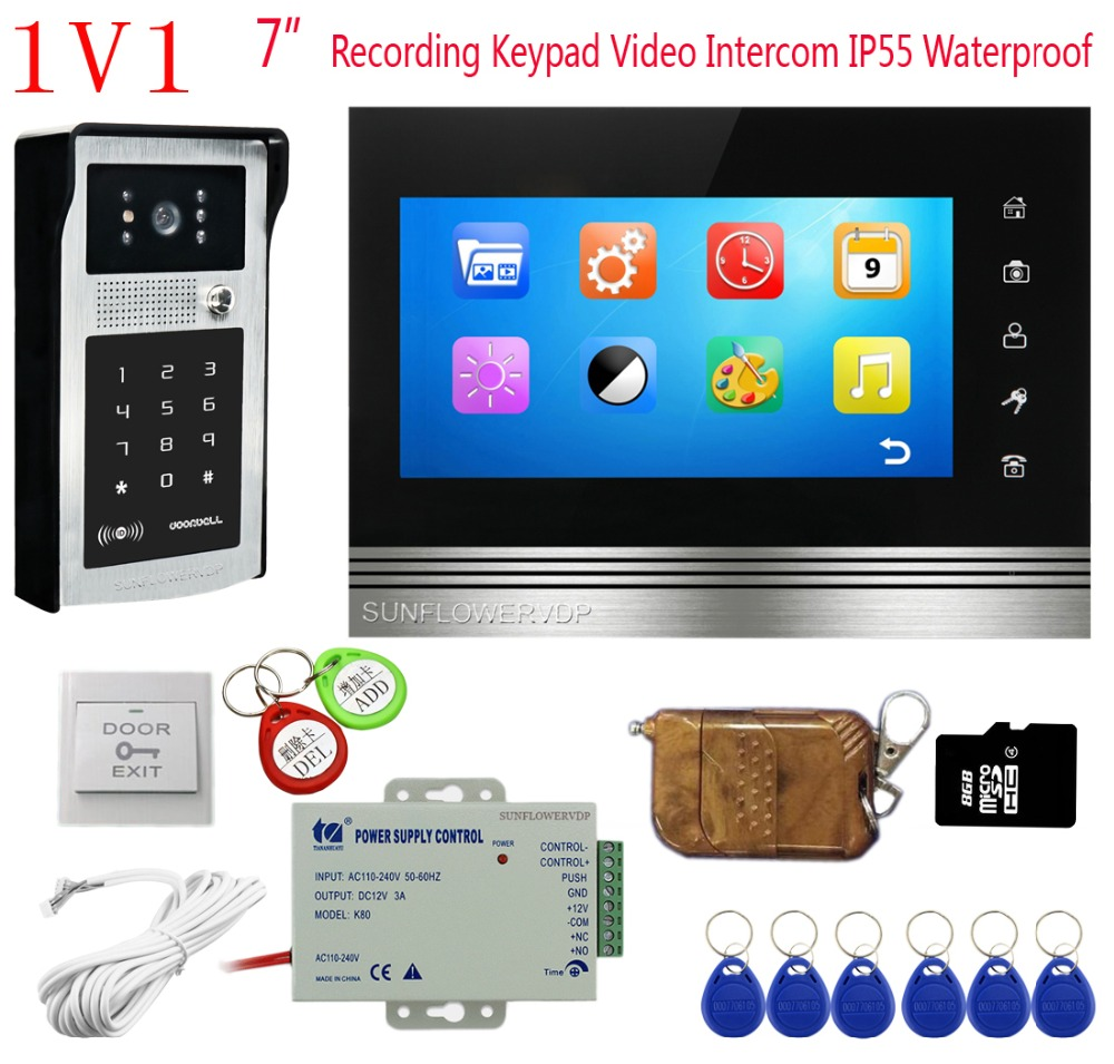 8GB SD Card Video Intercom With Recording Touch Buttons 7
